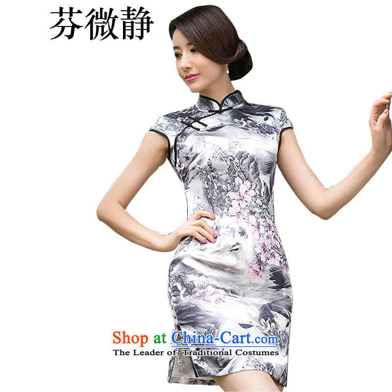Leung Ching stamp silk retro-Sau San improved daily short cheongsam dress stylish dresses bridesmaid dress annual gifts high collar color pictures of the forklift truck low?M
