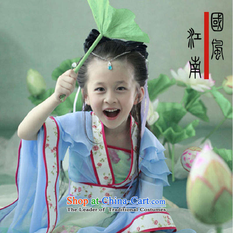 Time thenew 2015 Syria children skirt disc children whose square children Tang dynasty costume girls Han-performance services little princess small Gwi-Chae Yeon-track light blue135CM