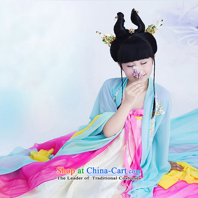 The Syrian children costume skirt around 2015 summer workshop on children whose disk Fung Ling children show new costume Miss Tang dynasty princess clothing West Dedalus light blue 135CM