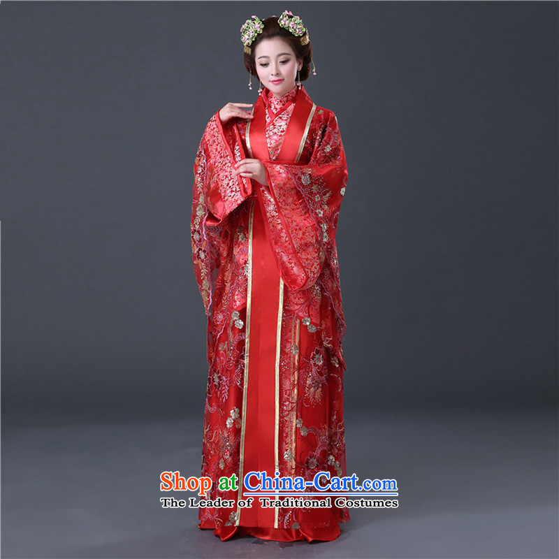 Time the new Syrian) costume of the Tang dynasty princess Tang Dynasty Chinese wedding dresses Han-red videos with Queen's dress demo service Gwi-floor are suitable for 160-175cm code