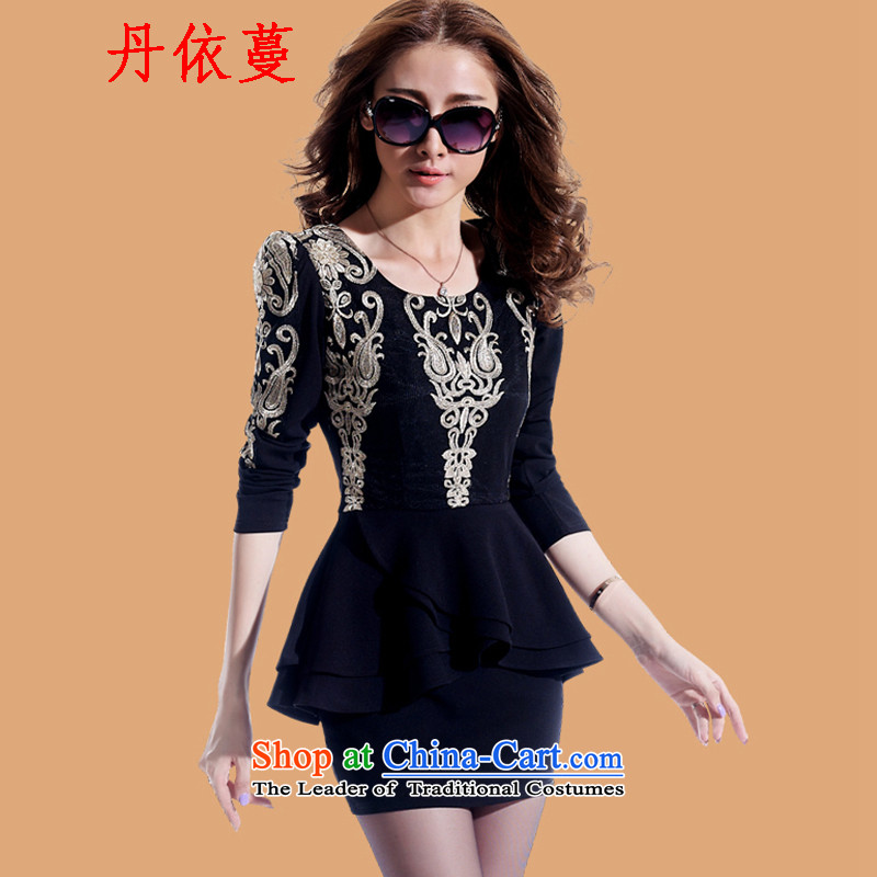 According to Dan Overgrown Tomb embroidery dress dresses Tang dynasty qipao?2015 Autumn new for women temperament long-sleeved package and dresses billowy flounces leave two black