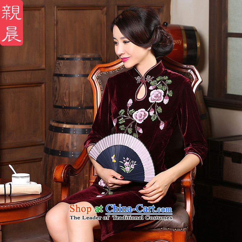 The pro-am spring and autumn 2015 new larger cheongsam with stylish retro improved mother in cuff velvet cheongsam dress in cuff�L