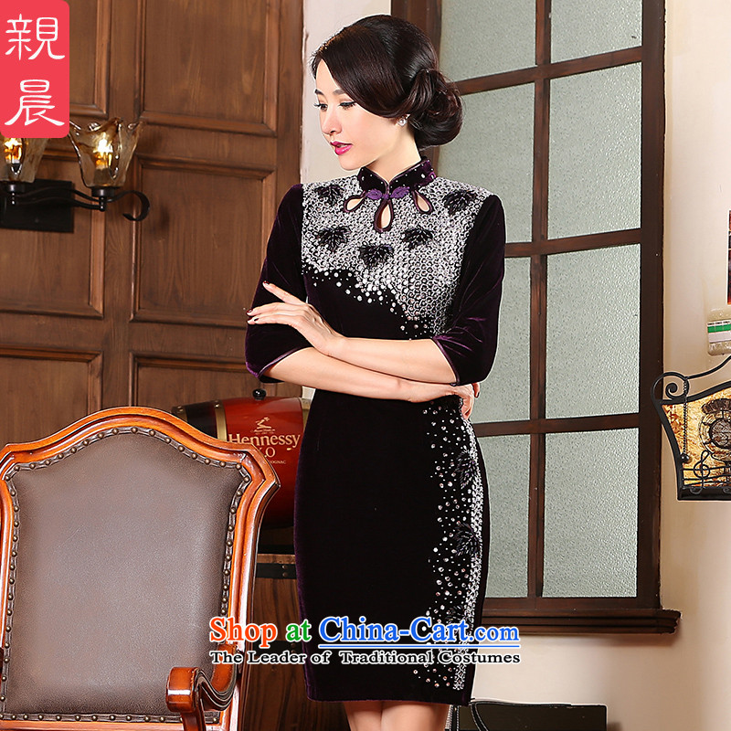 2015 Fall_Winter Collections new upscale Kim scouring pads for larger mother qipao in cuff antique dresses banquet in dress cuff燬