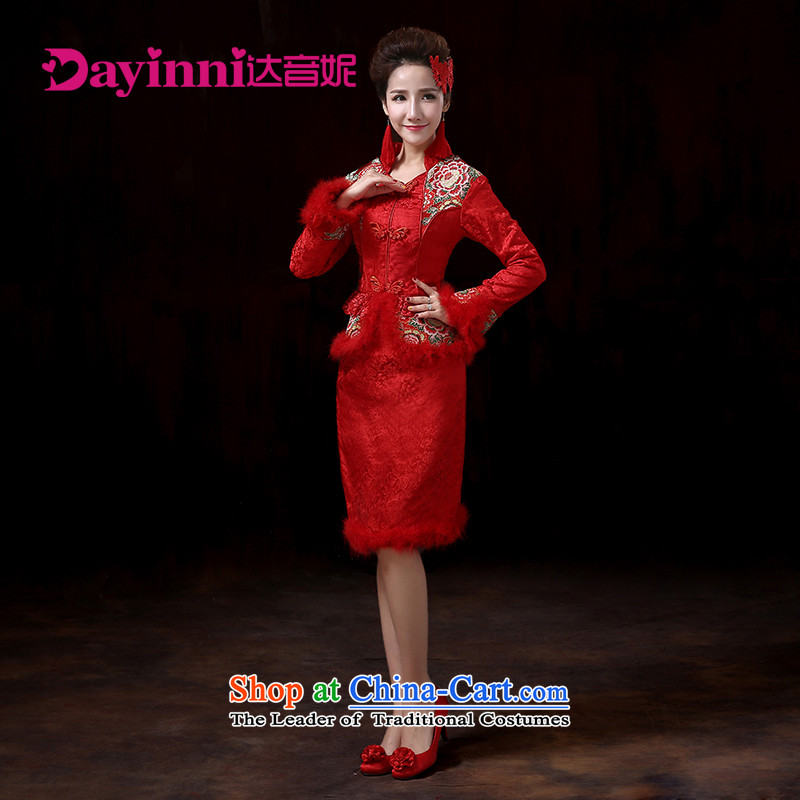 The new 2015 Fall/Winter Collections bows Service Bridal cheongsam dress Wedding Dress Short, Red Red?L