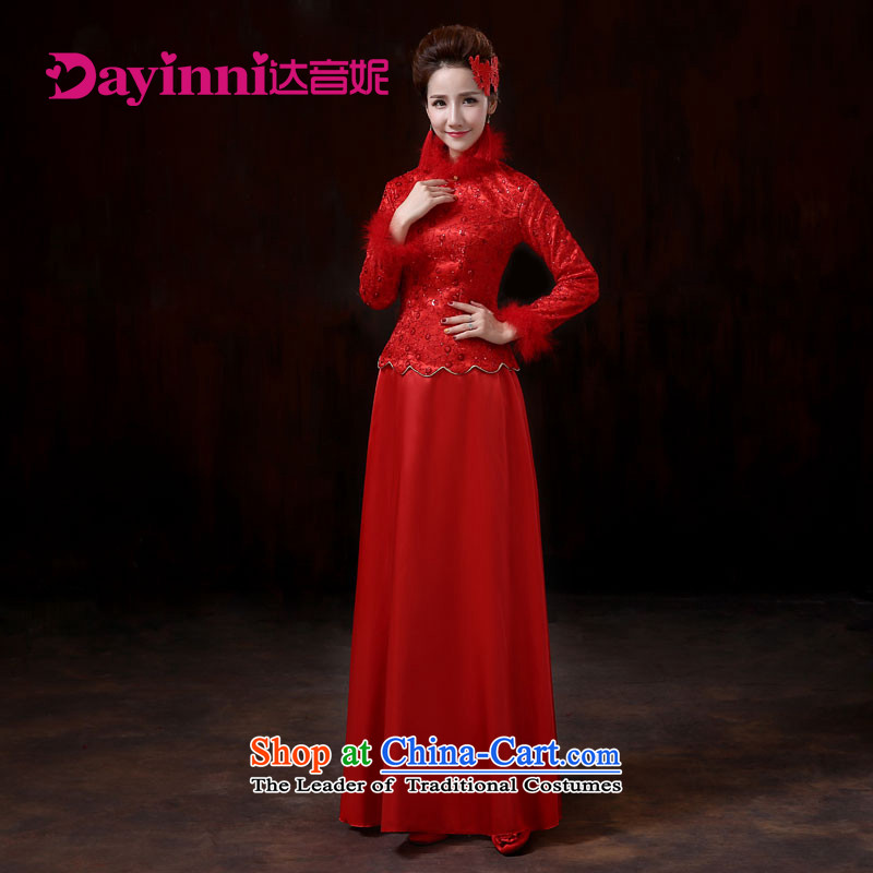 The sound of her wedding dresses winter cheongsam new marriage bows qipao winter cotton qipao gross for燤