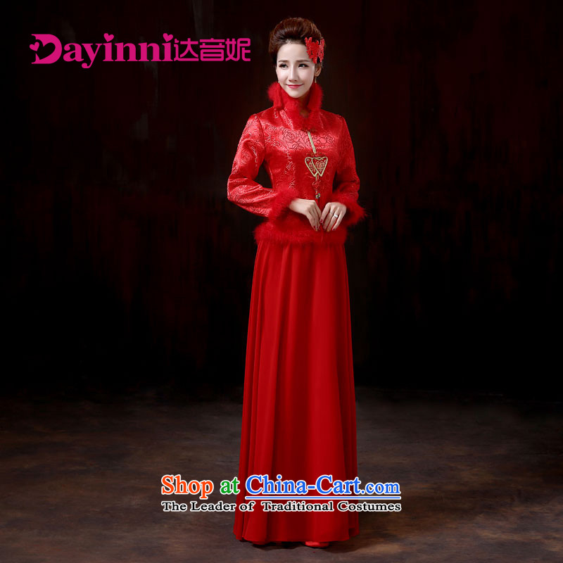 2015 new bride larger marriage wedding dresses qipao gross for autumn and winter red warm red燬