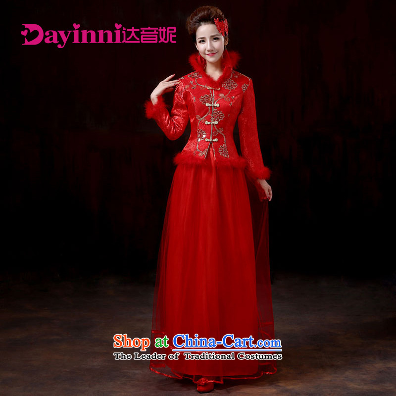 Embroidery large red married long autumn and winter video thin qipao Sau San bride evening dress for banquet bows marriage gross red�XXL