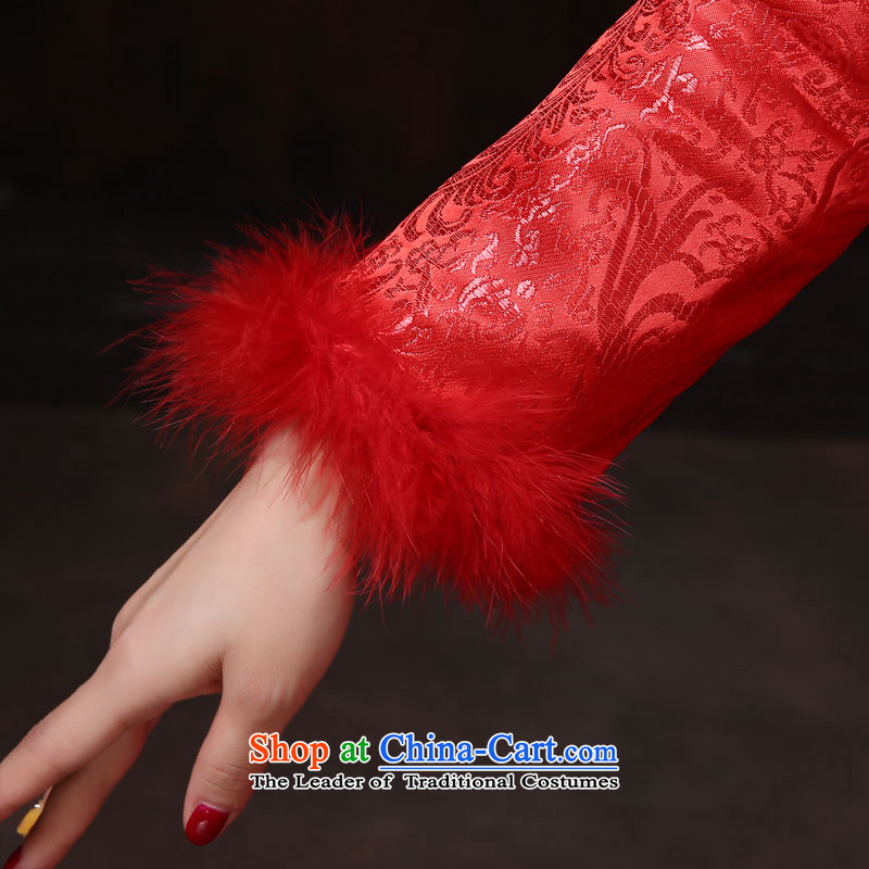 Embroidery large red married long autumn and winter video thin qipao Sau San bride evening dress for banquet bows marriage gross聽XXL, red tone dayinni stephanie (up to) , , , shopping on the Internet