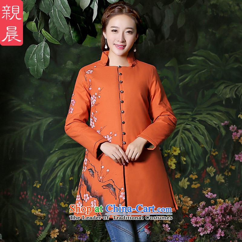 Tang dynasty women 2015 Autumn installed China wind improved long-sleeved sweater national wind jacket retro cotton linen clothes for larger orange燲L