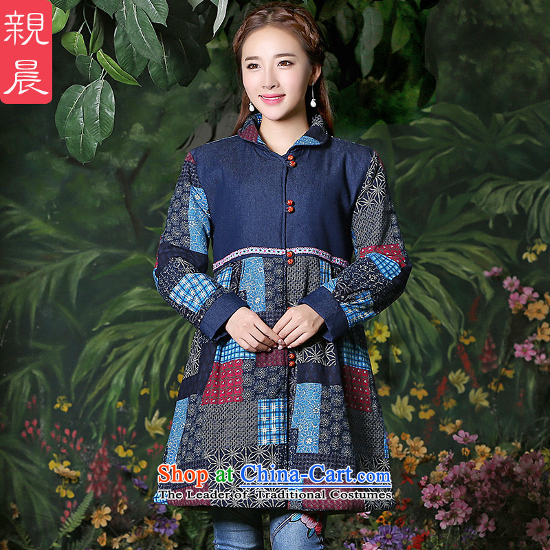 Tang dynasty women 2015 Autumn installed China wind blouses ethnic cotton linen clothes improved retro jacket large blue燲L