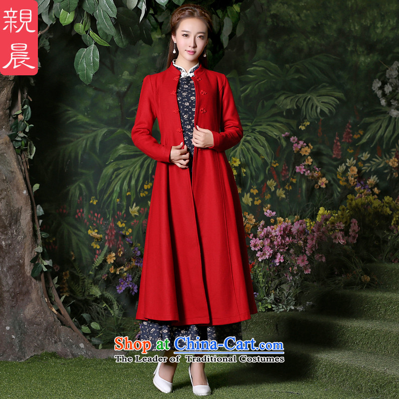 Gross girls jacket? Long autumn 2015 new products female windbreaker larger women a wool coat new fall inside a red jacket + ink, dresses?L