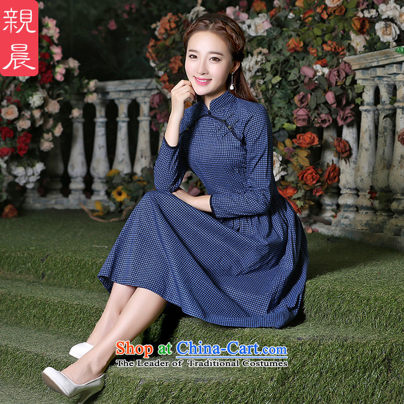 Ladies dress code long-sleeved blouses and large autumn 2015 New Product Codes and stylish long skirt new fall inside a skirt wave point long skirt燲L