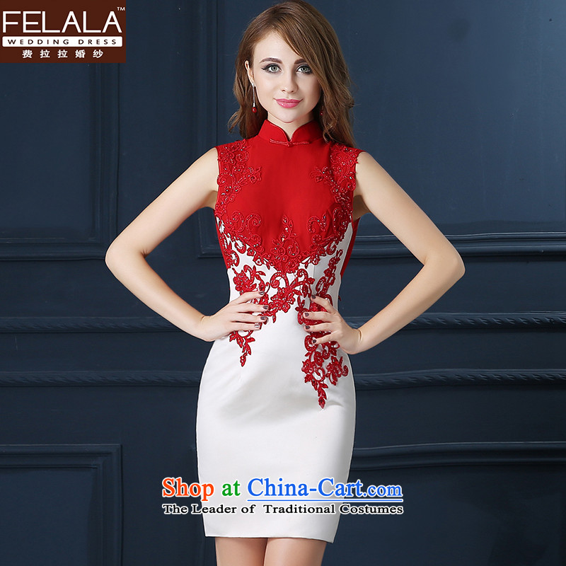 Ferrara new bride dress marriage Chinese bows services fall short of modern cheongsam dress Summer Wedding booking marriage bride evening dresses red and white S