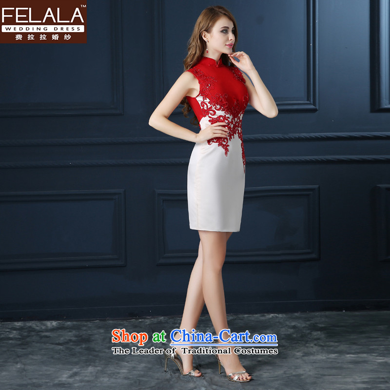 Ferrara new bride dress marriage Chinese bows services fall short of modern cheongsam dress Summer Wedding booking marriage bride evening dresses red and white S Ferrara wedding (FELALA) , , , shopping on the Internet