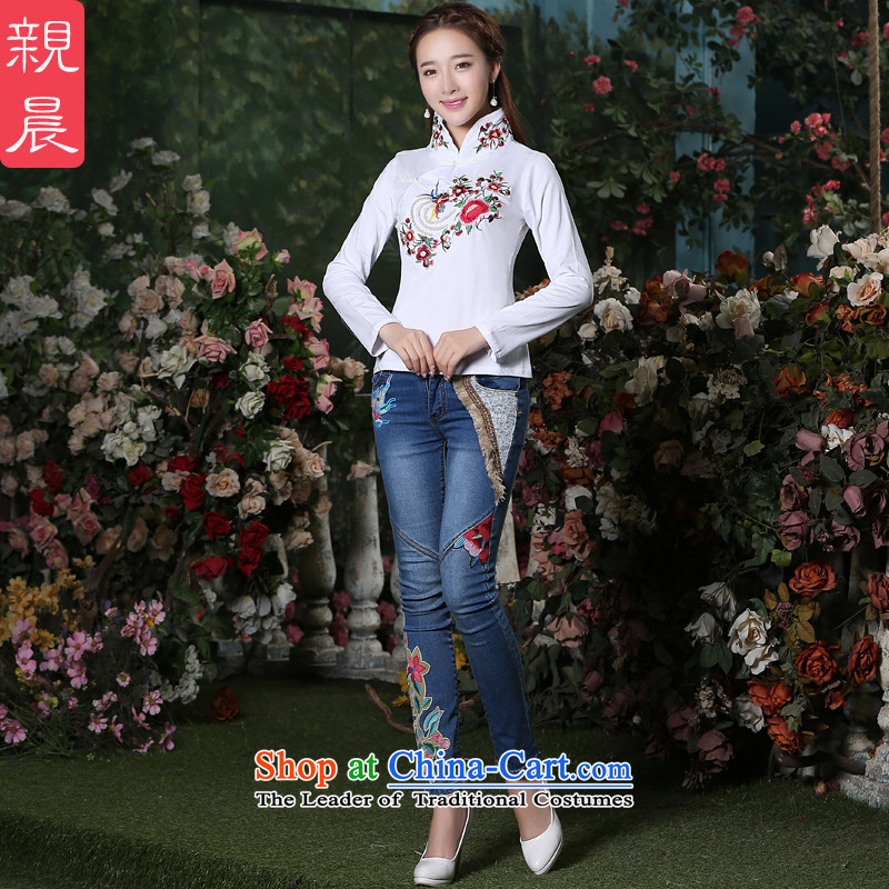 At 2015 new pro-cotton shirt autumn qipao long-sleeved Chinese Antique style everyday improved nation Sau San wind female white + jeans燤