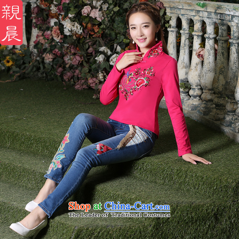 The pro-am 2015 Autumn new women's long-sleeved T-shirt qipao cotton Chinese daily improved Han-tang gown of ethnic better Red + jeans燲L