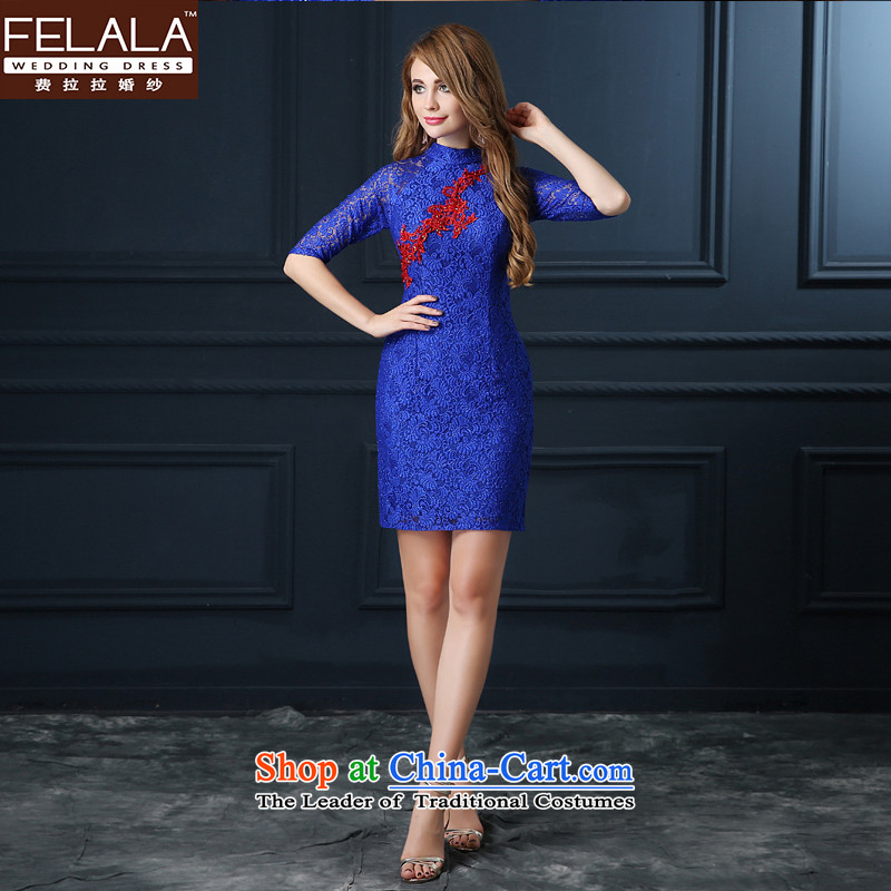 Ferrara new bride dress marriage Chinese bows services fall short of modern cheongsam dress Summer Wedding booking marriage bride evening dress blue and red blue?S
