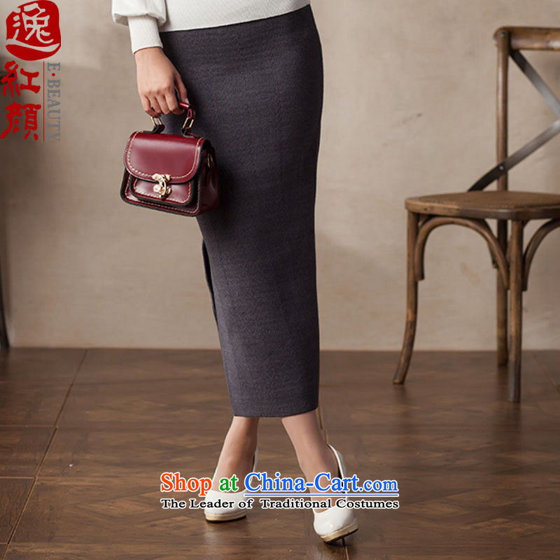 A Pinwheel Without Wind Fang Yu Yi�15 new products segment autumn skirt arts wild ethnic and knitting upper body package long skirt gray燤