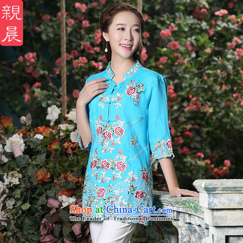 At 2015 new parent in the spring and autumn day-to-day large Loose Cuff ethnic retro Tang dynasty cotton linen clothes female blue qipao + North Pattaya yarn embroidery white trousers 2XL