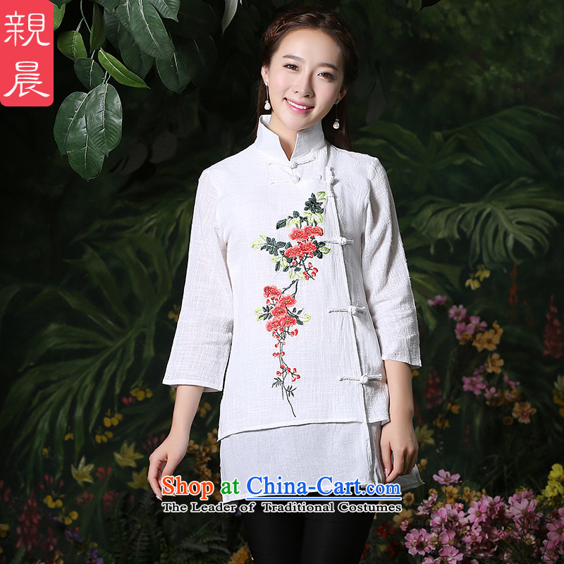 Ms. Tang dynasty morning PRO-Pack 2015 new autumn day-to improve the short period of time for women cotton shirt female Chinese qipao White + North Pattaya yarn embroidered black trousers are code