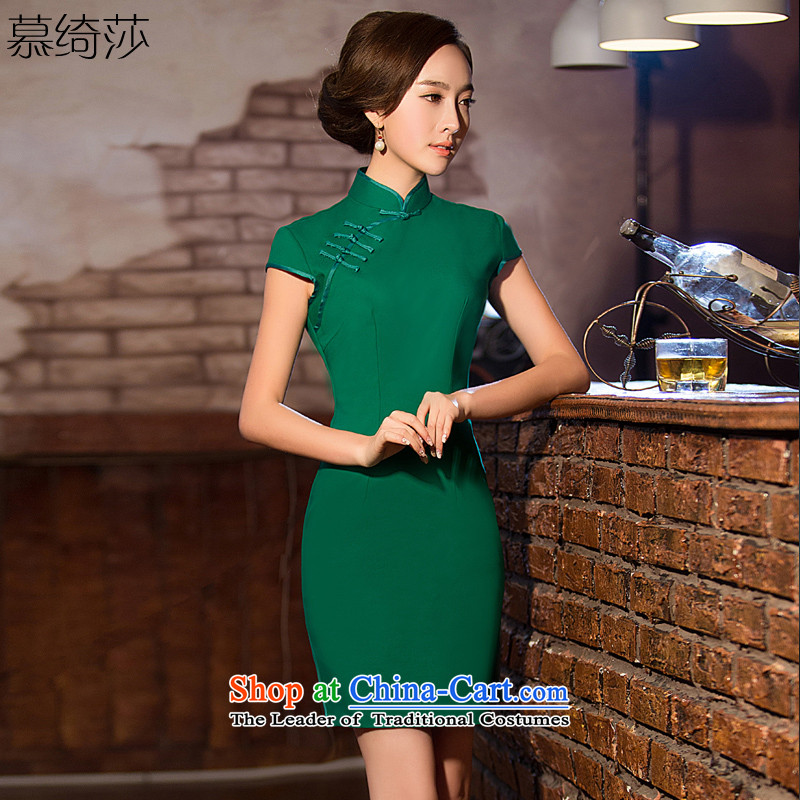 The green cross-sa new pure color cheongsam dress summer daily qipao improved cheongsam dress short cheongsam dress suit Female燪D 201爂reen�L
