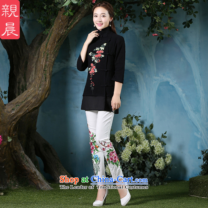 At 2015 NEW PRO-Pack cheongsam dress daily autumn retro style short of improved cotton China wind qipao female clothes Black + North Pattaya yarn embroidery white pants are code
