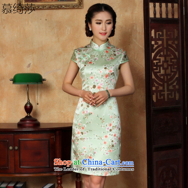 The cross-SA-light?2015 new ethnic women's heavyweight silk cheongsam dress summer girls improved cheongsam dress?Y 51 18?pictures color?L
