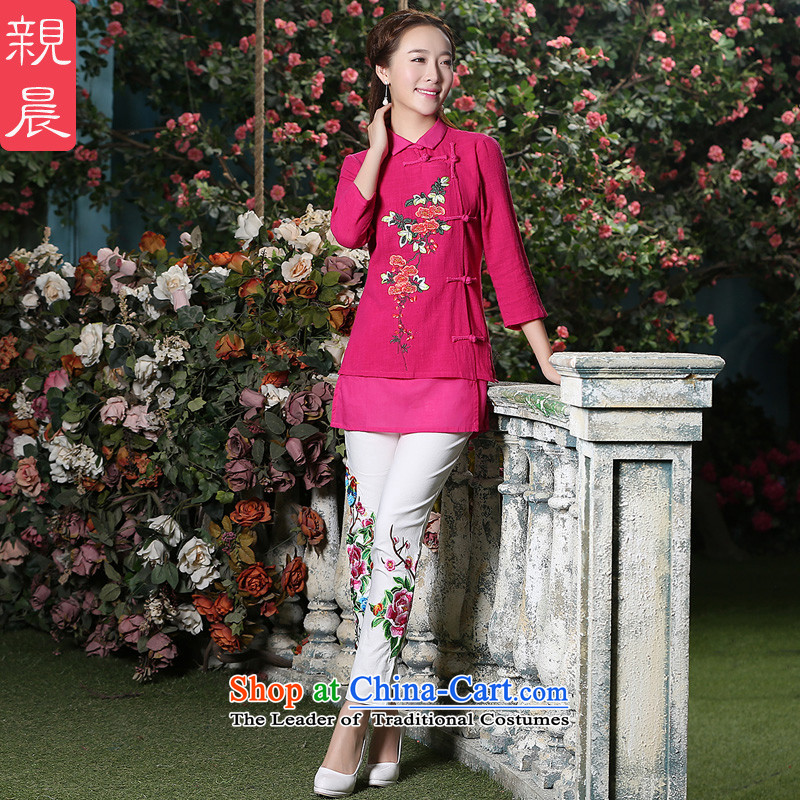 At 2015 new pro-pack Everyday improved stylish autumn 7 cuff cotton of ethnic Chinese women in T-shirt qipao retro Red + North Pattaya Elisabeth embroidered white trousers are code