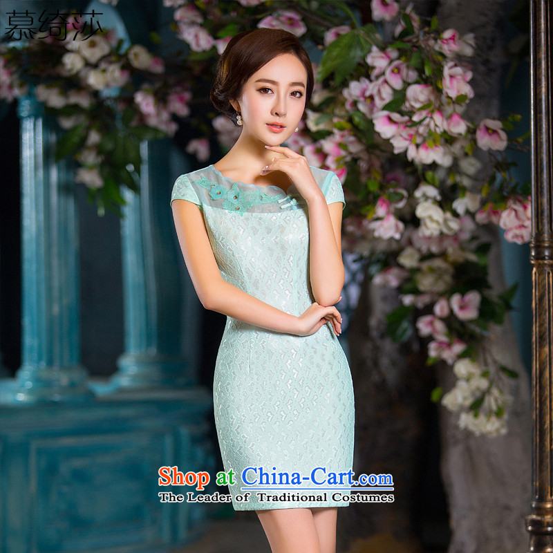 The cross-sa?2015 Summer facade lace double sexy elegant qipao dresses cheongsam dress of the?QD daily improved 165?pictures color?2XL