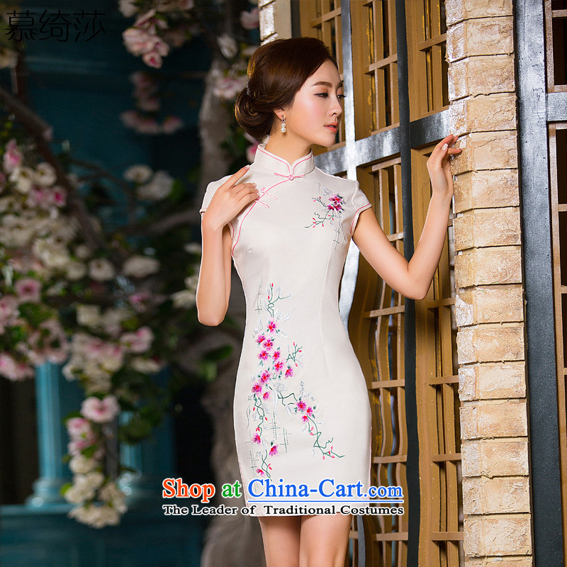 The cross-sa flower v. China wind silk embroidery cheongsam daily retro short, improved qipao summer?QD 173?White?M