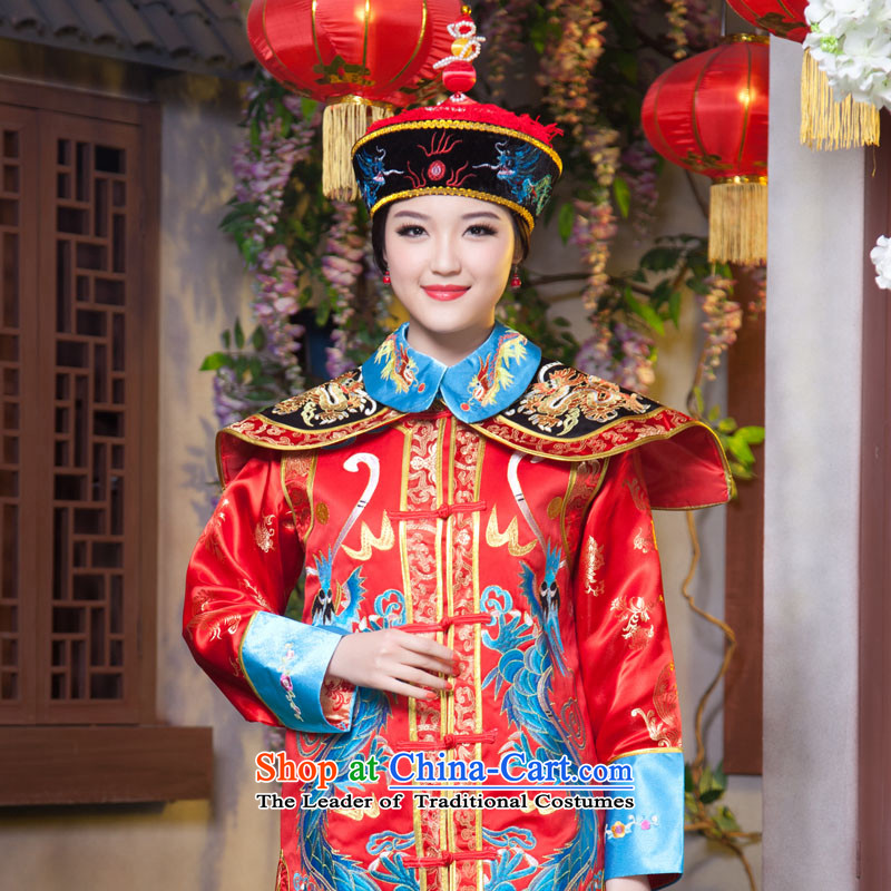 The Syrian men and women dress ancient times in the Qing Dynasty Emperor dragon robe Queen Apparel Pack the Tsar Qing Emperor robes of the dragon, clothing Zerubbabel Light Blue Photo building are suitable for 160-175cm code