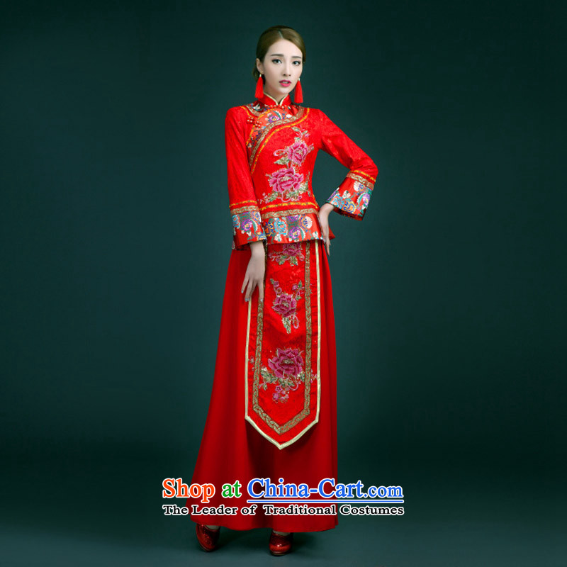 The Syrian-soo wo service hour 2015 new wedding dress bows to the autumn and winter, Chinese style wedding dresses and Phoenix use red bride?S