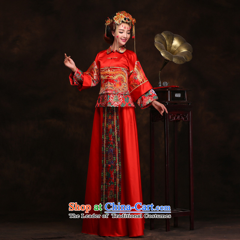 Time Syrian Chinese style wedding-soo wedding gown Wo Service Bridal pregnant women married long-sleeved red qipao gown longfeng use toasting champagne costume RED M