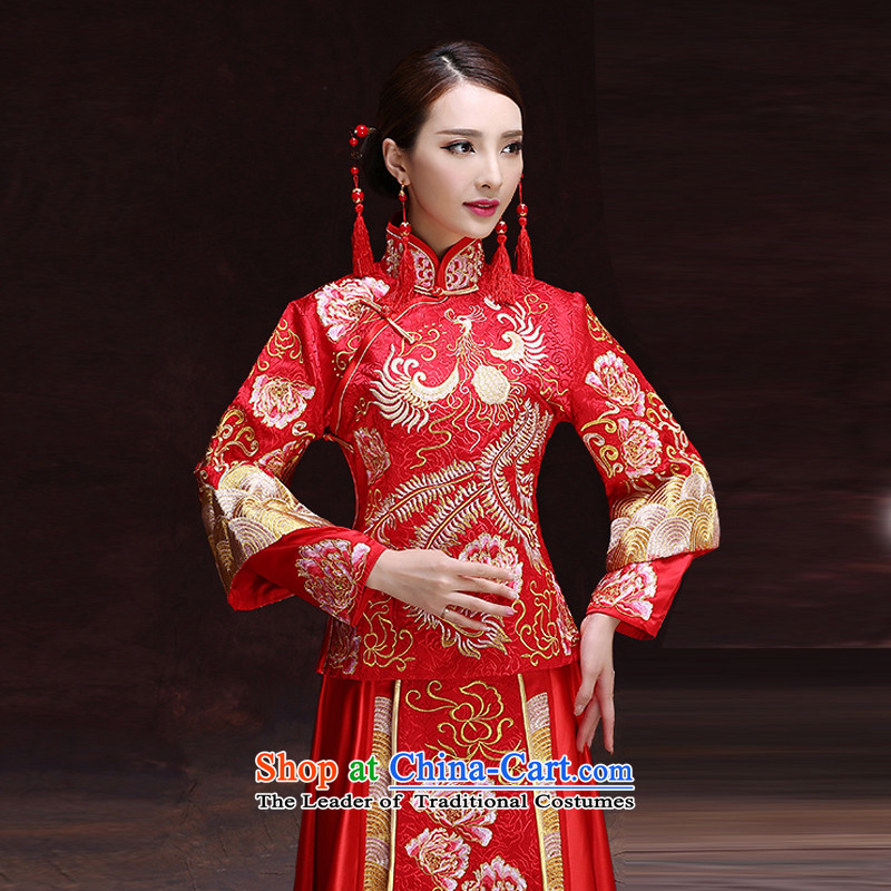 Time Syrian Chinese style wedding dresses wedding gown red marriages bows wedding dresses-soo summer services wo service retro dragon use RED聽M