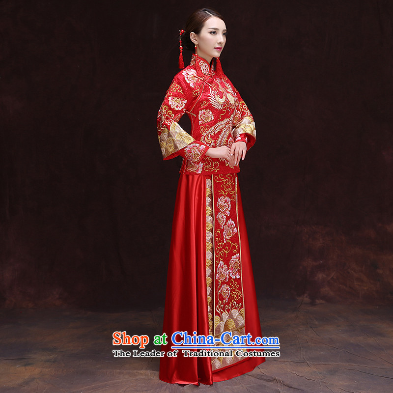 Time Syrian Chinese style wedding dresses wedding gown red marriages bows wedding dresses-soo summer services wo service use RED M, the dragon retro time Syrian shopping on the Internet has been pressed.