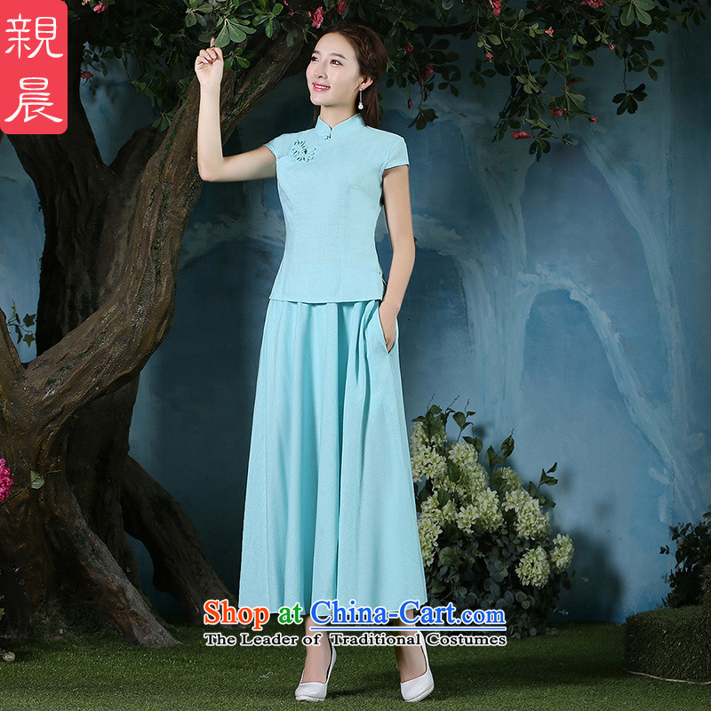 The new 2015 pro-am summer daily maximum code Ms. cotton linen clothes linen improved qipao cheongsam dress short-sleeved light blue skirt + S