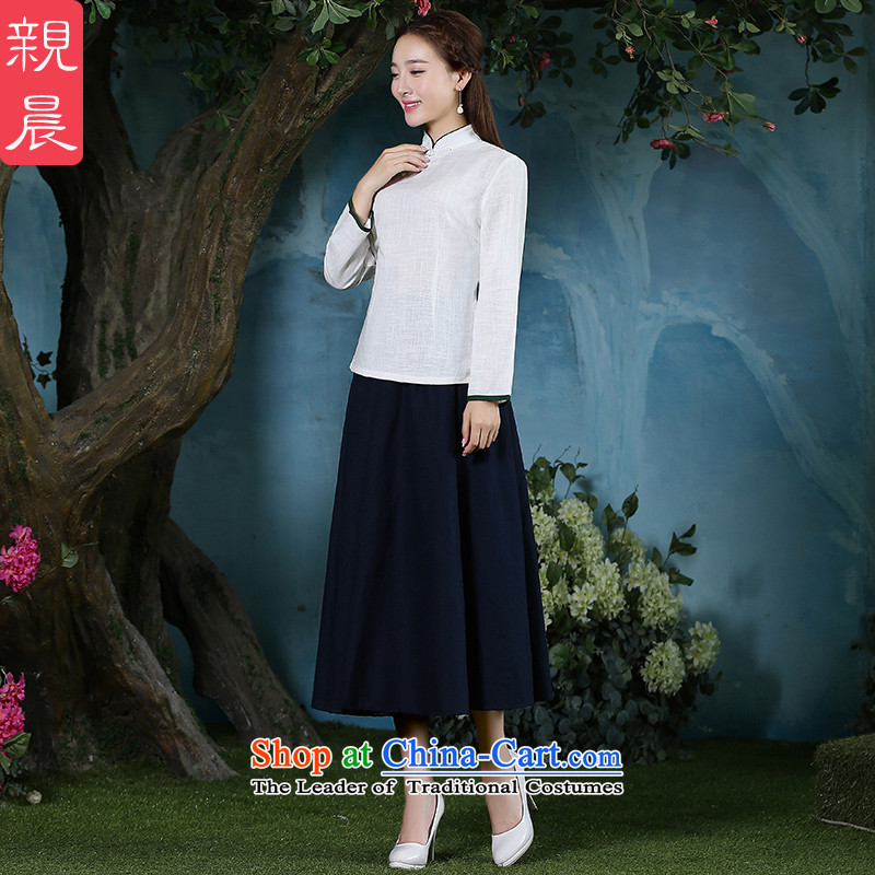 The pro-am cotton linen clothes 2015 new qipao Ms. Fall/Winter Collections daily Tang dynasty improved stylish long-sleeved shirt dresses + Hong Kong navy blue long skirt XL