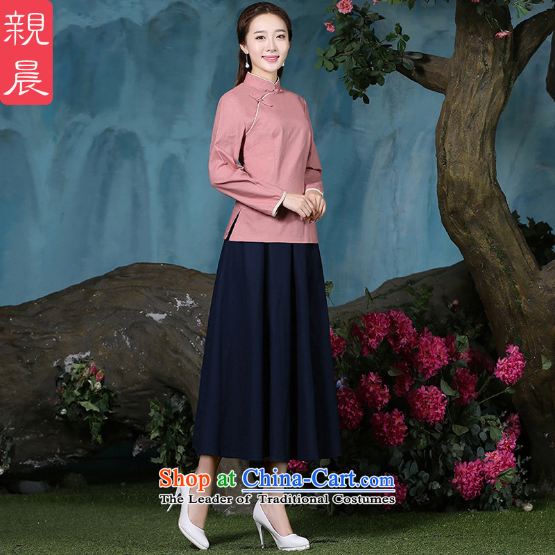 The new 2015 pro-morning cotton linen clothes female autumn and winter qipao of daily improved stylish Tang Dynasty Chinese Han-long-sleeved shirt + Hong Kong navy blue long skirt�2XL