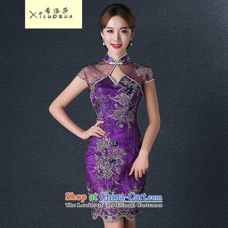Hillo XILUOSHA_ Lisa _short_ 2015 new fall cheongsam with mother cheongsam dress with retro Ms. Mama wedding-day qipao purple燲L