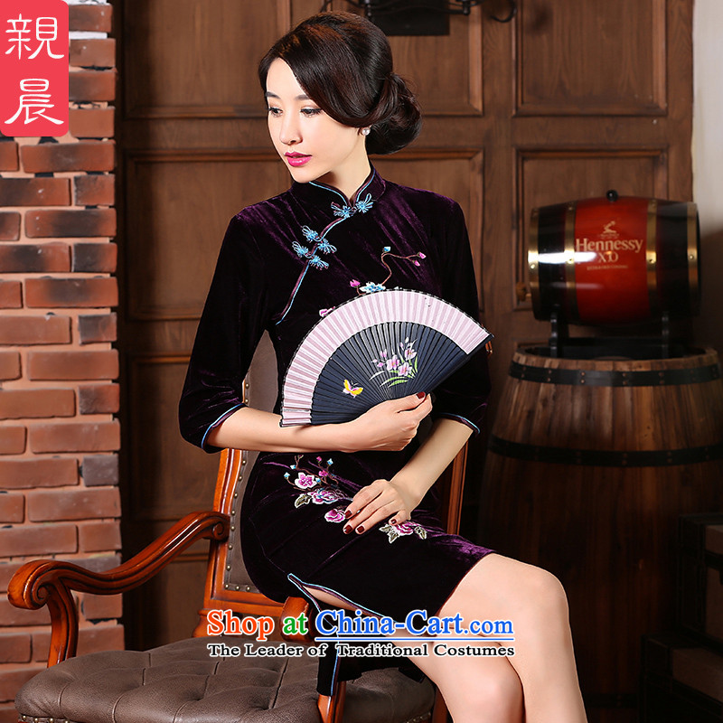 The new 2015 pro-morning autumn large) scouring pads with daily improvement qipao mother Ms. Stylish retro in the skirt cuff?4XL