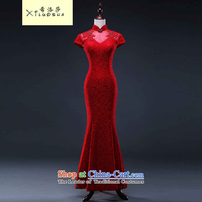 Hillo XILUOSHA_ Lisa _bride lace marriage cheongsam long red crowsfoot bows stylish service     Chinese Dress 2015 New Red?S