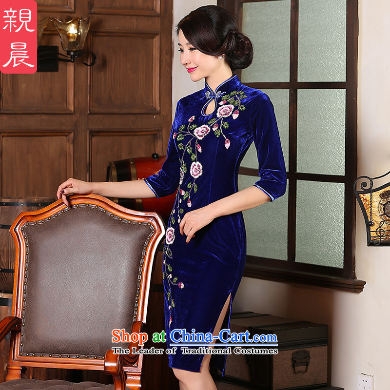 Maximum load mother Kim upscale code wedding dress qipao velvet autumn 2015 replacing the new large number of elderly persons in the skirt cuff�L