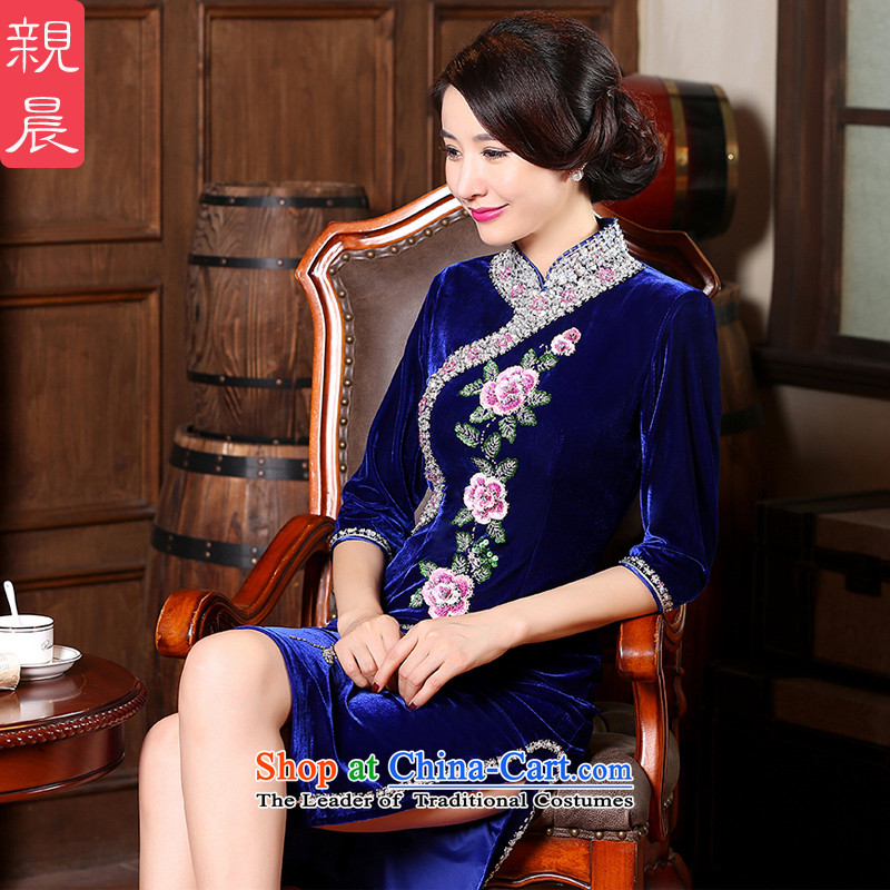 Replace wedding wedding MOM 2015 Autumn dress new large upscale Kim velvet improvement in cuff�L cuff Cheongsam
