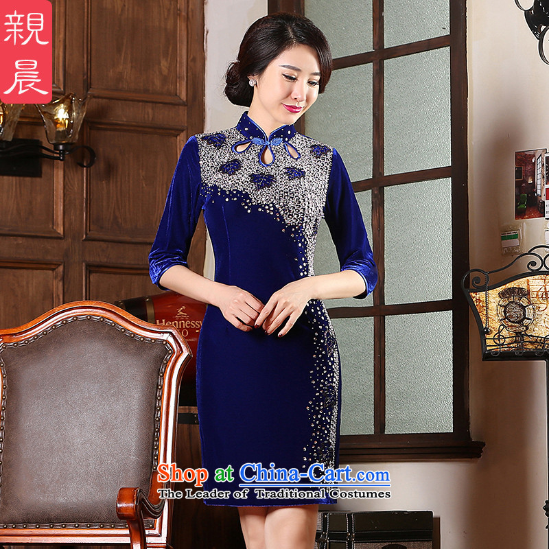 Kim scouring pads cheongsam dress 2015 new wedding dress wedding MOM pack autumn replacing the skirt of nostalgia for the improvement of older 7 Blue聽3XL cuffs