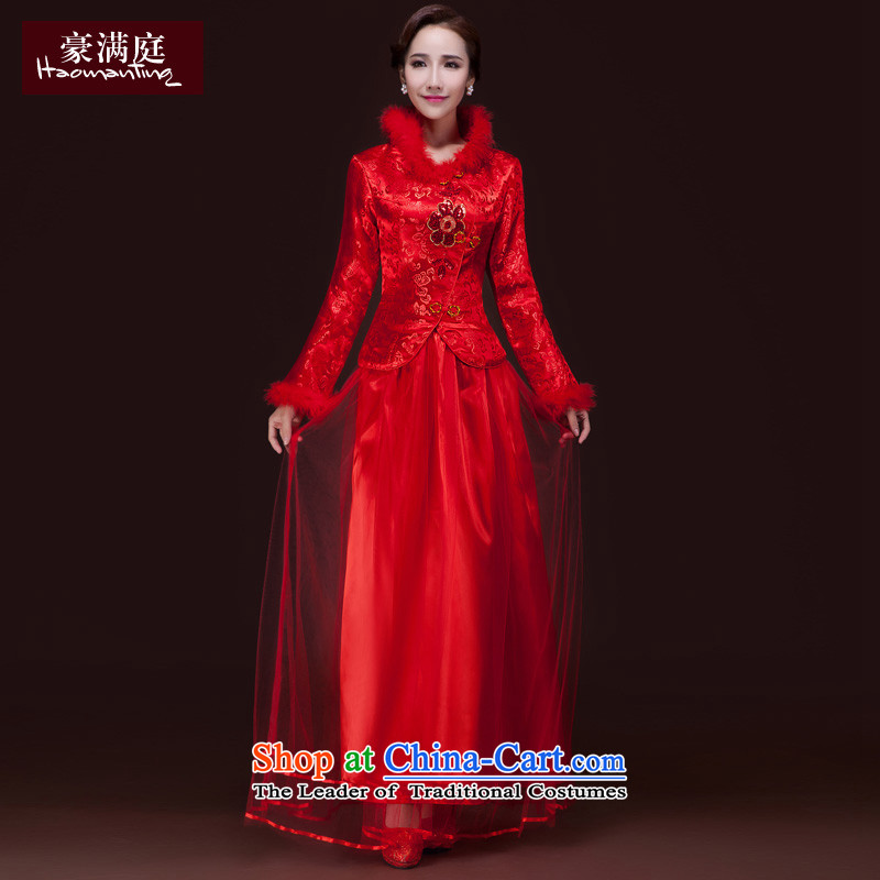 2015 WINTER new service bridal dresses bows long marriage Sau San China wind qipao red improved long-sleeved red燲L