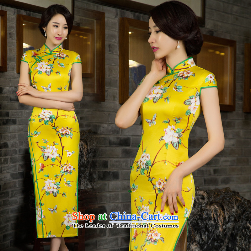 2015 new bride dress marriage Chinese bows services fall short of modern cheongsam dress summer daily qipao and contemptuous of new fall Yellow�M