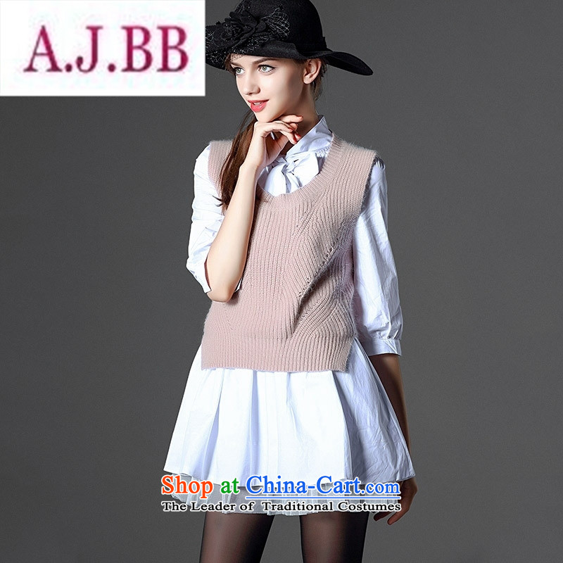 Ya-ting stylish shops 2015 Autumn replacing the new two-piece dresses elegance bow tie shirt skirt rabbit hair knitted shirt vest white聽L
