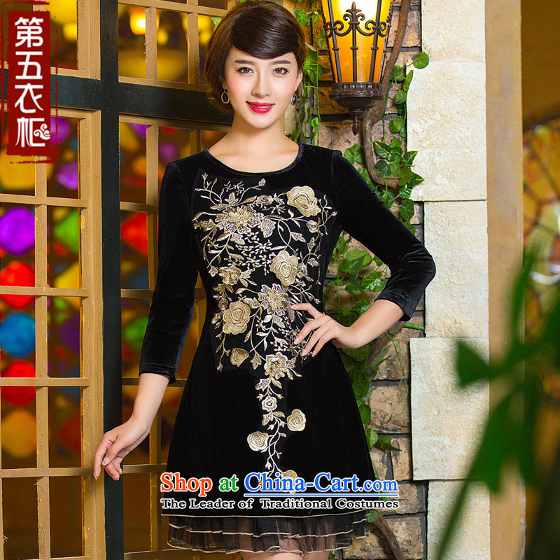 Eason Chan point cheongsam dress 2015 new fall inside the seven long-sleeved stylish Chinese embroidery mother with improved velvet燲XXL black