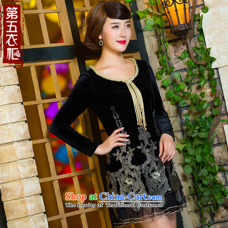 Eason Chan point cheongsam dress 015 new long-sleeved stylish improvements autumn lace embroidered short, thin ethnic Sau San graphics black dress?L