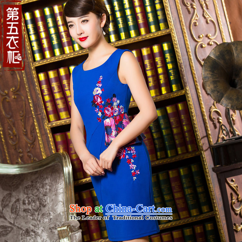 Eason Chan point cheongsam dress 2015 new fall sleeveless style improvement wild gentlewoman Sau San video thin short of dresses qp blue燬